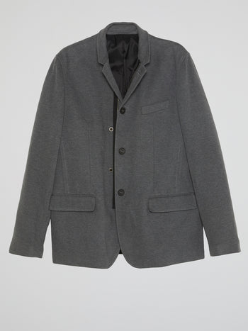 Grey Single-Breasted Blazer