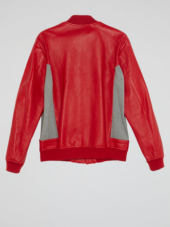 Red Zip-Up Leather Jacket