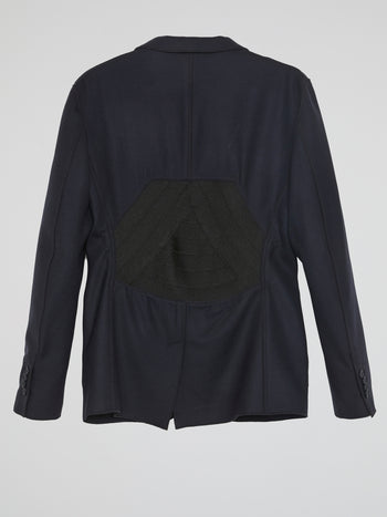 Navy Panel Detailed Blazer