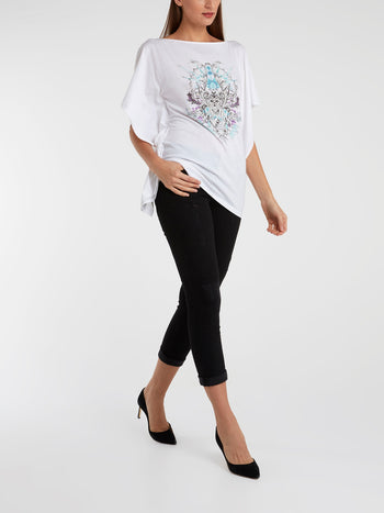 White Printed Butterfly Sleeve Top