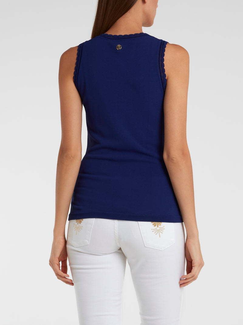 Navy Knitted Tank Top