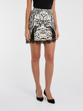 Animal Print Lace Hem Skirt