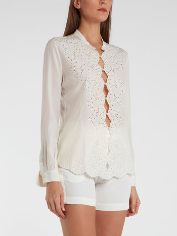 White Button Up Perforated Blouse