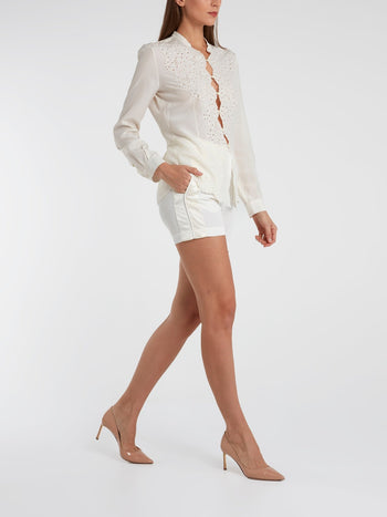 White Pleat Detail Shorts