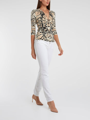 Animal Print Three Quarter Sleeve Top