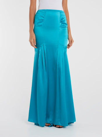 Blue Mermaid Maxi Skirt
