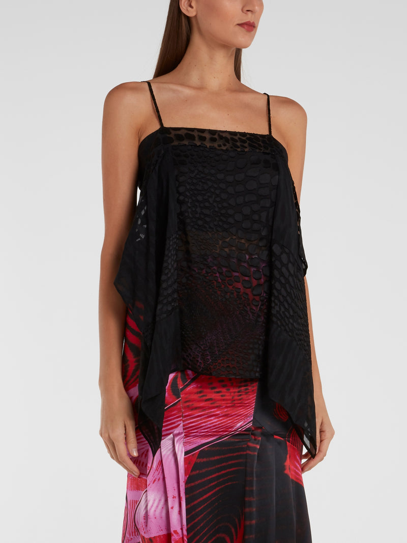Black Reptilian Drape Top
