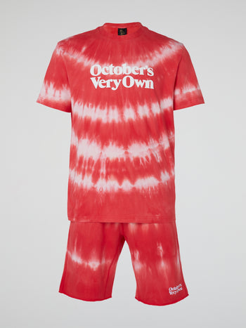 Red Marble Tie Dye Shorts
