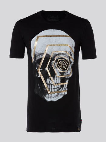 Black Geometrical Skull Print T-Shirt
