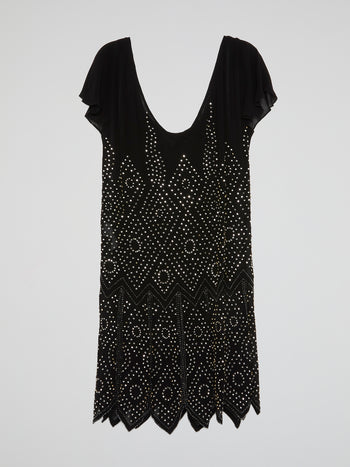 Black Geometric Studded Scoop Dress