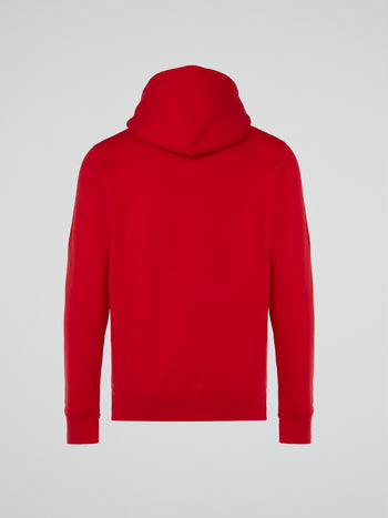 Red Front Pocket Printed Hoodie