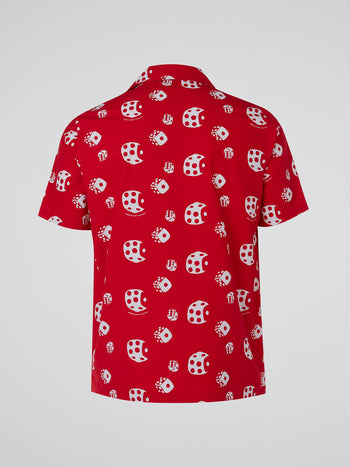 Red Dice Print Short Sleeve Shirt