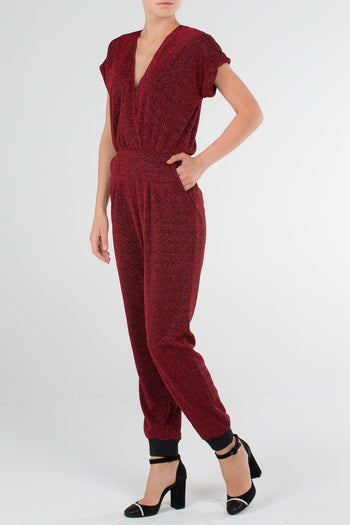 Burgundy Zip Back Surplice Overall