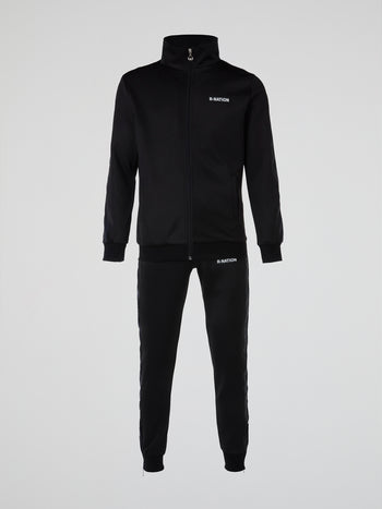 Black Reflective Stripe Tracksuit
