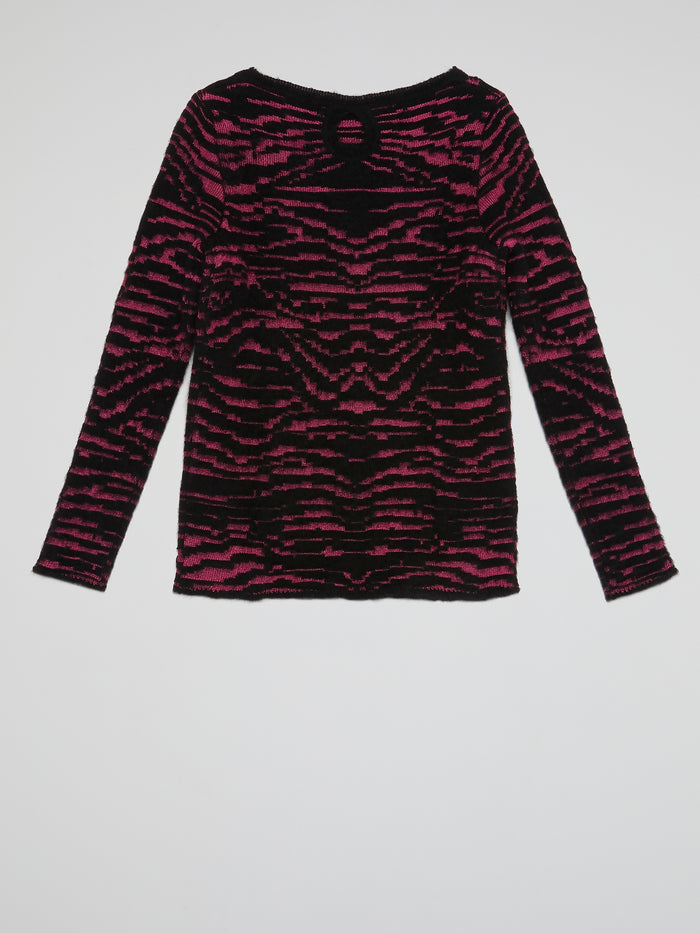 Pink Panel Knitted Long Sleeve Top