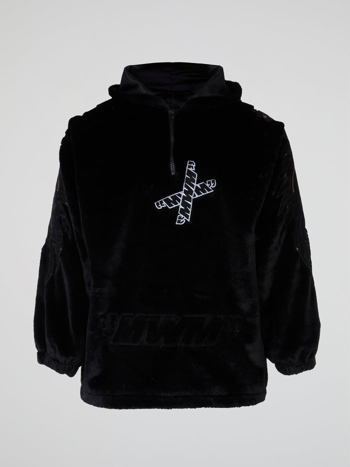 Black Embroidered Plush Hoodie