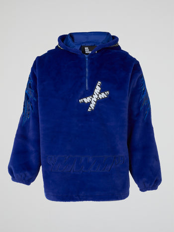 Blue Embroidered Plush Hoodie