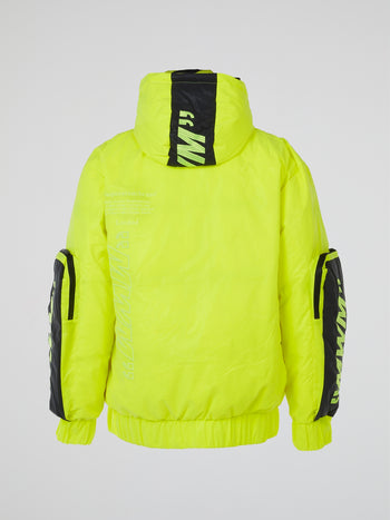 Neon Yellow Reflective Utility Pockets Coat
