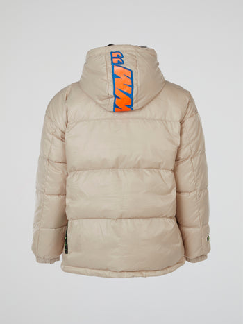 Beige Puffer Hooded Jacket