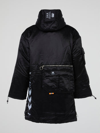Black Satin Hooded Parka Coat