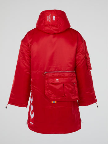 Red Satin Hooded Parka Coat