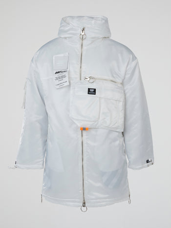 White Satin Hooded Parka Coat