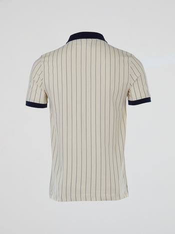 Beige Vintage Striped Polo Shirt