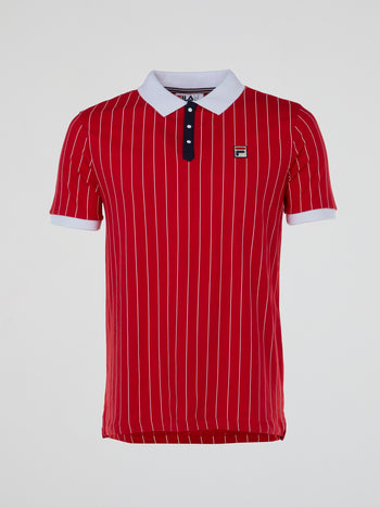 Red Vintage Striped Polo Shirt