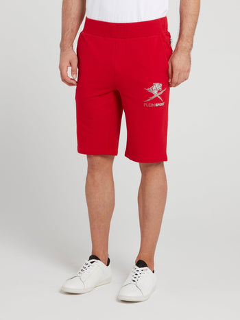 Red Waistband Jogging Shorts