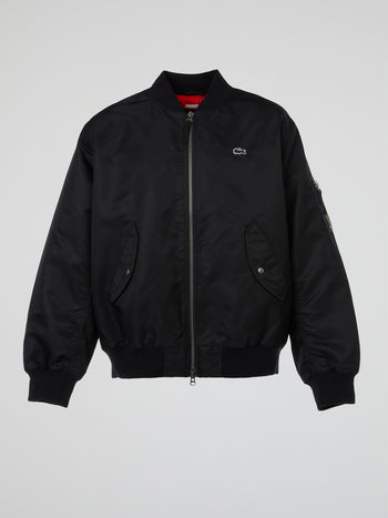 Black Zip-Up Bomber Jacket