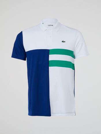 Colour Block Ribbed Collar Polo Shirt