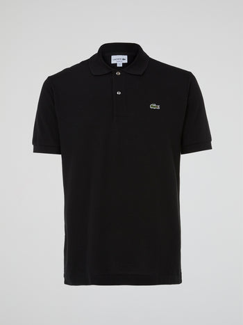 Black Ribbed Collar Polo Shirt