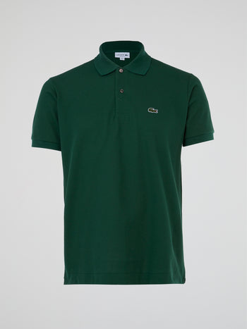 Green Ribbed Collar Polo Shirt
