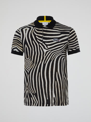 Animal Print Ribbed Collar Polo Shirt