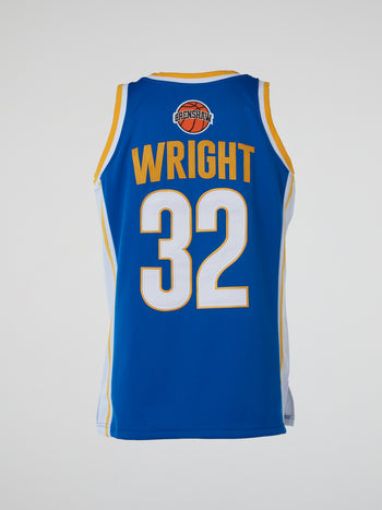 Blue Love and Basketball Wright Basketball Jersey