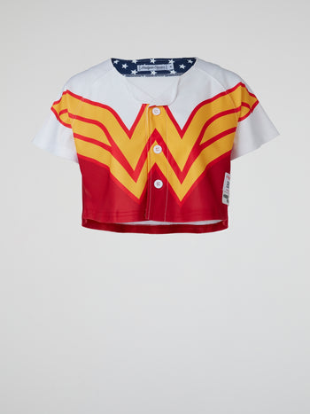 Wonder Woman Cropped Baseball Jersey