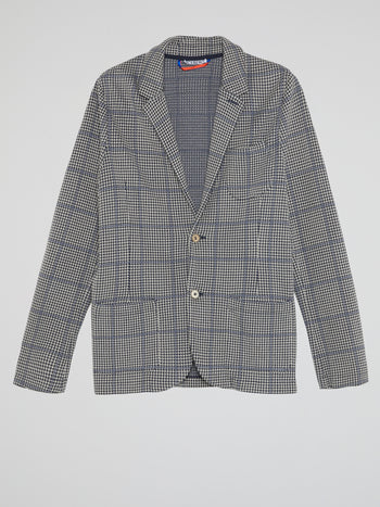 Grey Houndstooth Check Blazer