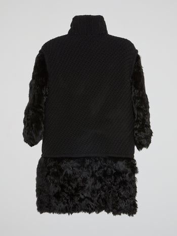 Black Fur-Panel Knitted Trench Coat