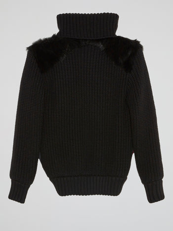 Fur Panel Ribbed Turtleneck Sweater
