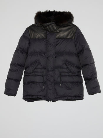 Navy Fur Hood Puffer Jacket