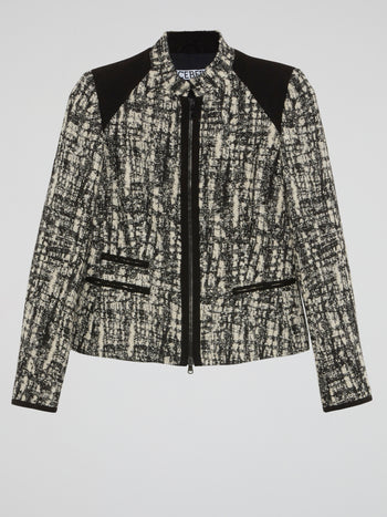 Pattern Print Zip-Up Jacket