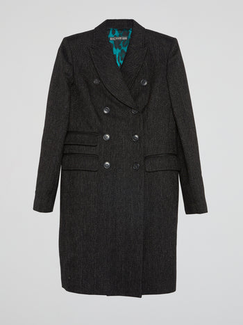Chevron Double-Breasted Trench Coat