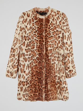 Leopard Print Fur Trench Coat
