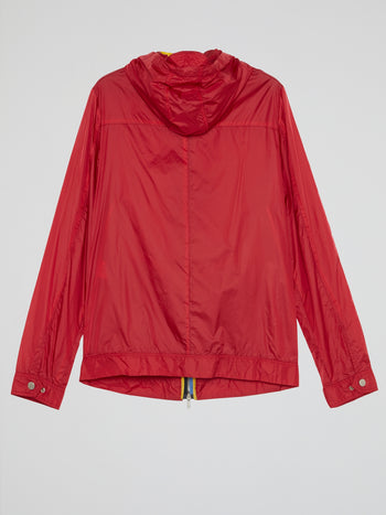 Red Drawstring Hooded Jacket