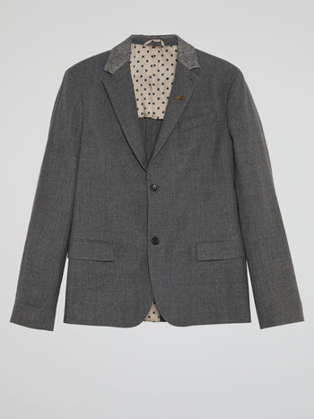 Grey Check-Collar Blazer