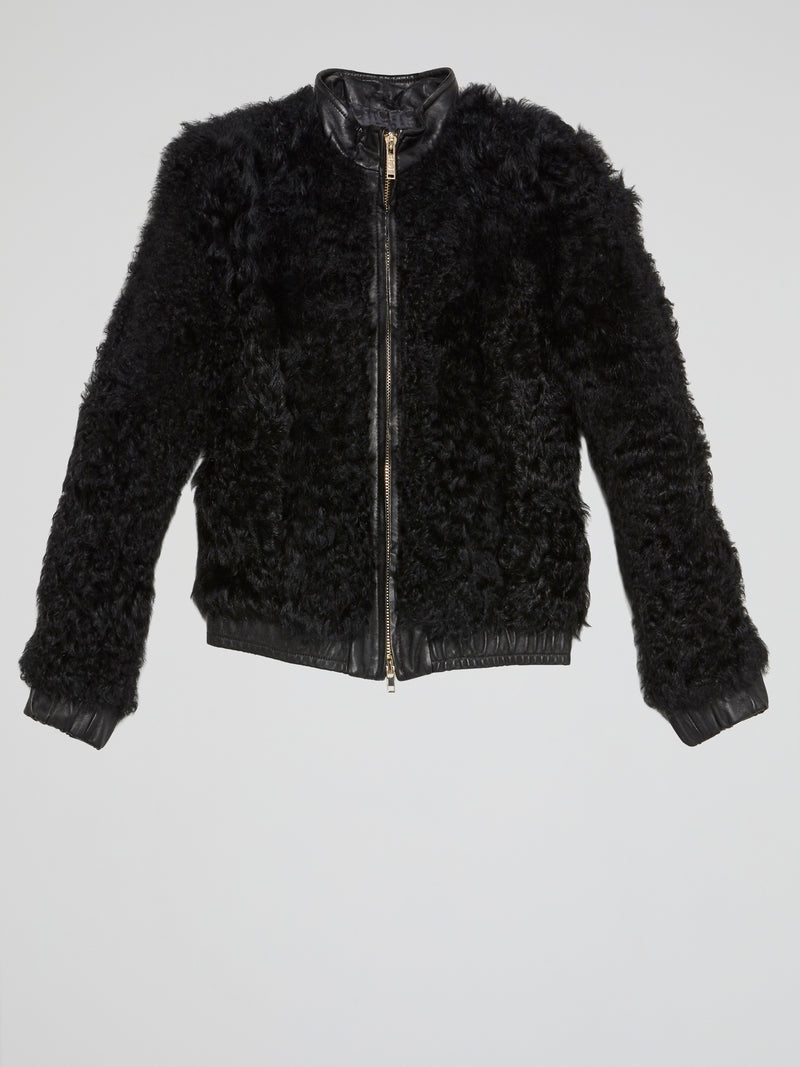 Black Zip-Up Fur Jacket