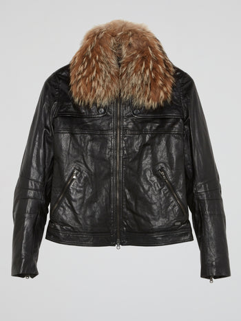 Black Fur Collar Leather Jacket