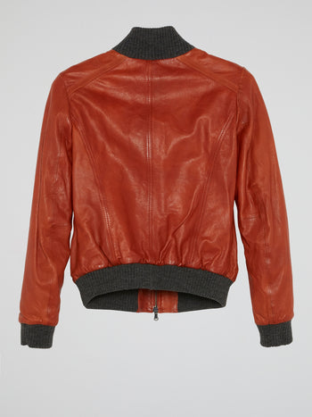 Red Ribbed Trim Leather Jacket