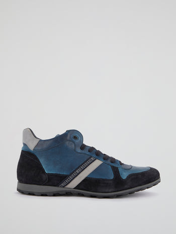 Blue High-Top Leather Shoes