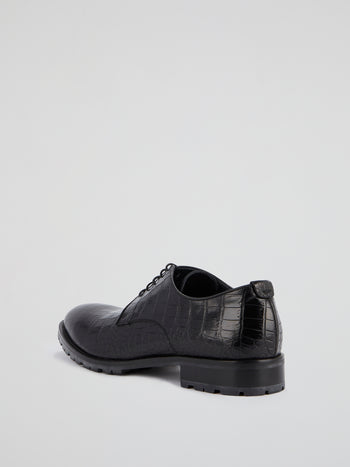 Black Reptilian Leather Shoes